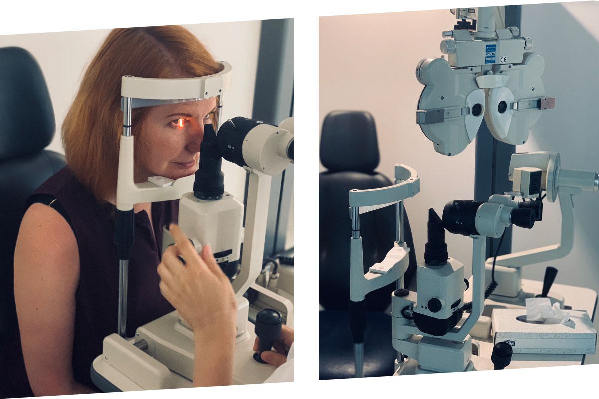 Acs priekšējo daļu veselības novērtēšana pie biomikroskopa